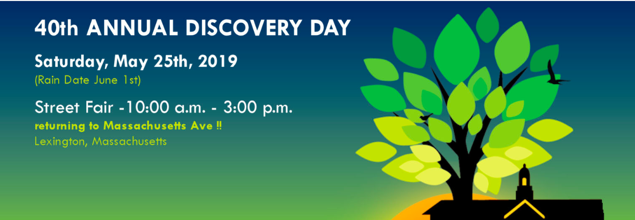 Banner regarding Lexington Discovery Day's time and location