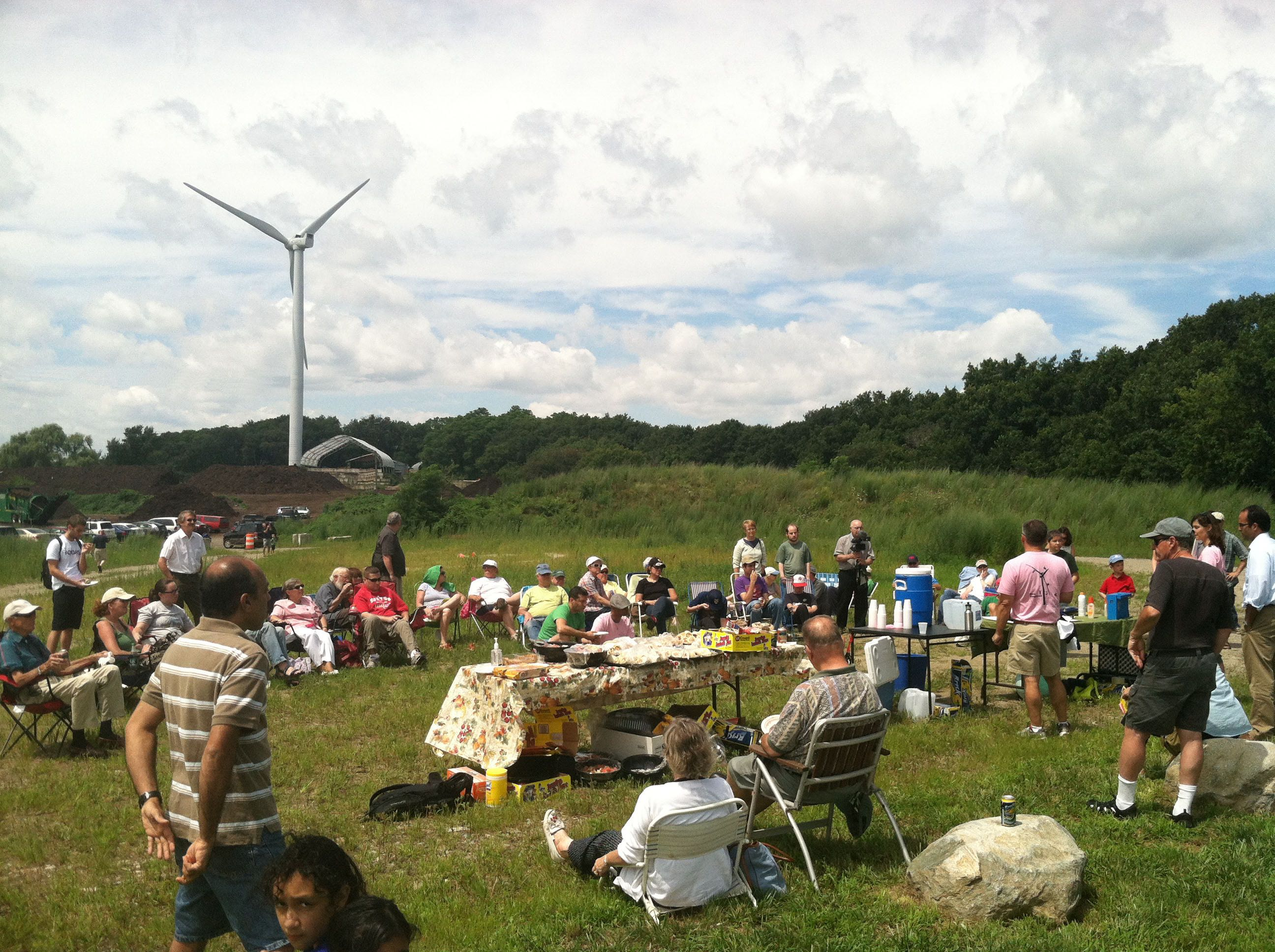 Picnic in front of a wind turbine in Ipswich, MA