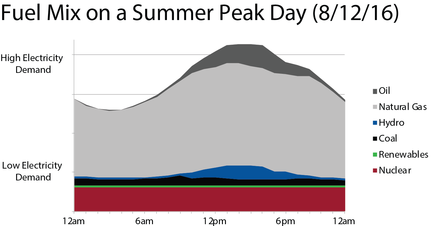 Shave the Peak, Graphs_Fuel Mix on a Summer Peak Day, 8-12-16