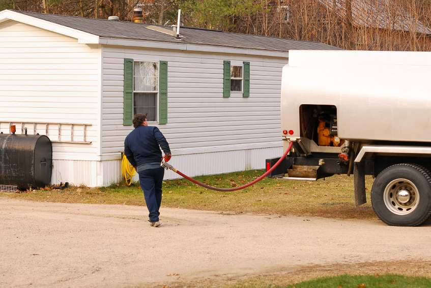 Heating oil being delivered to a home