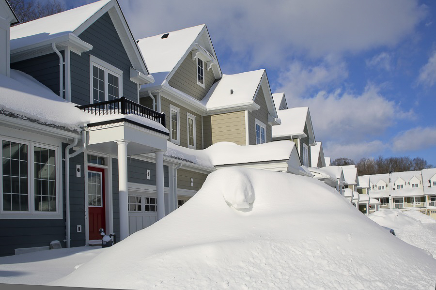 snow and houses