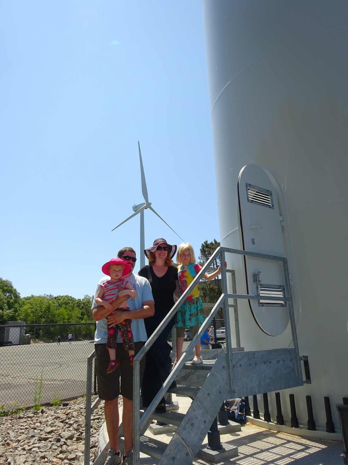 Wind turbine and family in Gloucester, MA